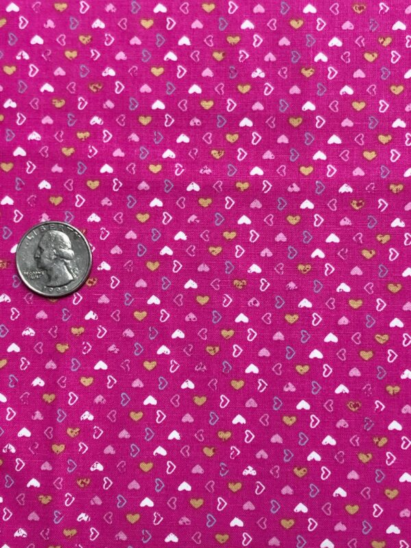 Tiny hearts on dark fuchsia. Pink, gold and blue open and closed hearts. Pen Pal by Clothworks Y2847 - 77 - Fabric by the yard