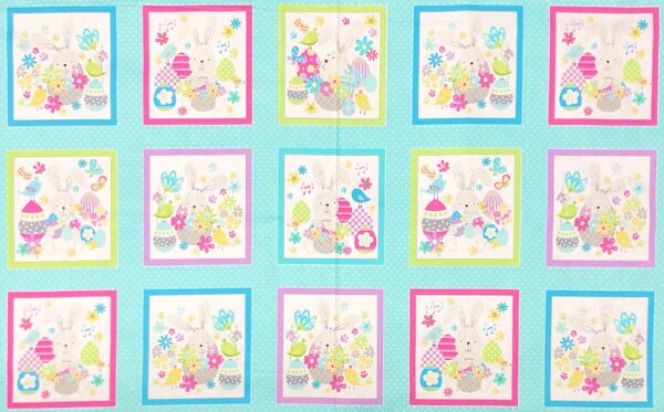 Easter and Spring panel with bunnies and birds in pastels. Some Bunny Loves You by Kanvas Studio 8951 - Fabric by the yard