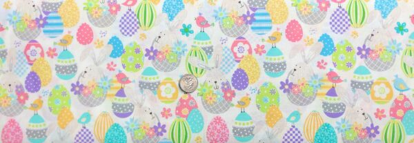 Easter bunnies and Easter eggs in beautiful pastels all over white. Some Bunny Loves You by Kanvas Studio 8950 - Fabric by the yard