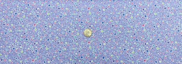 Multicolored circle odd dots in purple, green, blue and pink on periwinkle. Crescendo by Contempo Fabrics 10253 - Fabric by the yard