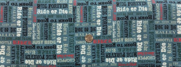 Biker words all over sleight blue. Ride or Die, velocity, throttle. Born to Ride by Windham Fabrics 52243 4 - One yard of fabric.