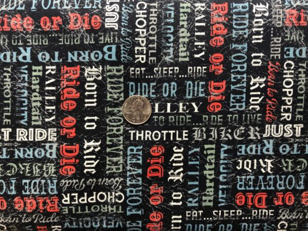 Biker words all over black leather look. Ride or Die, velocity, throttle. Born to Ride by Windham Fabrics 52243 3 - One yard of fabric.
