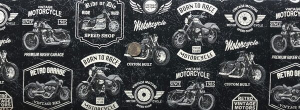 Motorcycles and motorcycle signs all over off black leather look. Born to Ride by Windham Fabrics 52240 3 - One yard of fabric.
