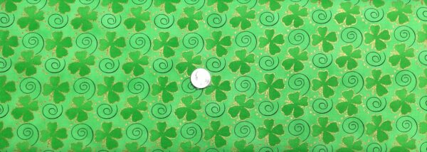 St. Patrick's Day shamrocks and swirls on kelly green with gold sparkles. St. Patrick's Day prints 15729916 - Fabric by the yard