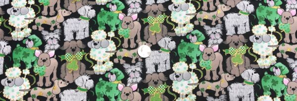 St. Patrick's Day dogs all over black. St. Patrick's Day prints 17960485 - Fabric by the yard