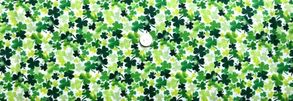 St. Patrick's Day green tonal shamrock all over WHITE. Timeless Treasures c8333- Fabric by the yard
