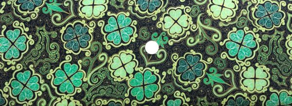 St. Patrick's Day decorated shamrock all over black. Lucky Clovers by Quilting Treasures 27424- Fabric by the yard