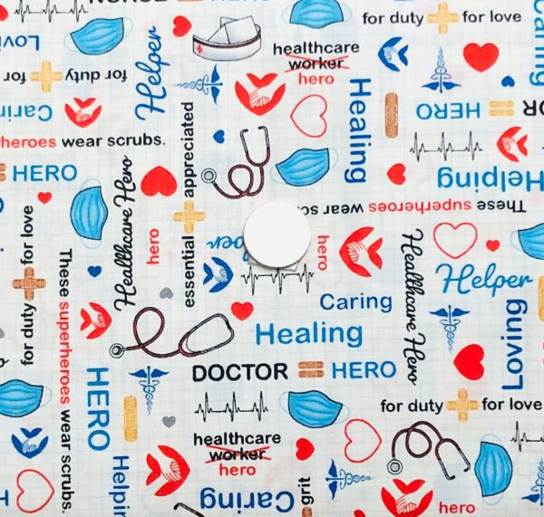 Medical supplies, mask, bandaids, scope and more. Calling All Nurses by Windham Fabrics 52528 - 1- Fabric by the yard