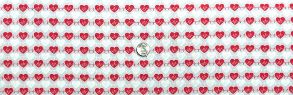 Medical fabrics. Red and white hearts with heart beat on very light grey. Big Hugs by Henry Glass 9329 - Fabric by the yard