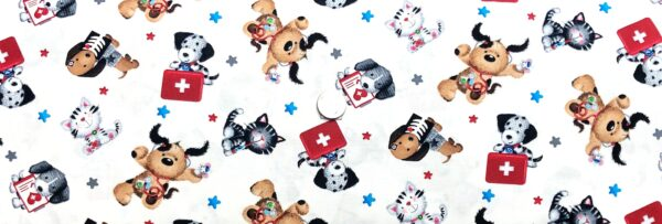 Dogs and cats playing doctor. Bandaids, thermometer, meds and more. Big Hugs by Henry Glass 9324 - Fabric by the yard