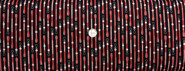 Dog leashes in red with silver and white all over black. Hot Diggity Dog by Ink and Arrow for Quilting Treasures 27444 - Fabric by the yard