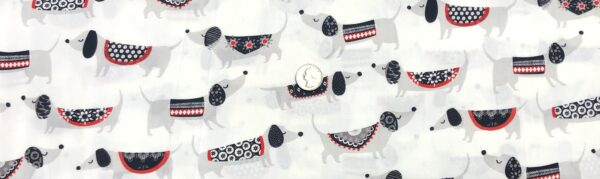 Dachshunds wearing black, white, grey and red on white. Hot Diggity Dog by Ink and Arrow for Quilting Treasures 27441 - Fabric by the yard