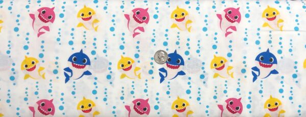 Baby Shark and light blue water droplets all over white. Baby Shark family Bubble Blast by Springs 20232- Fabric by the yard