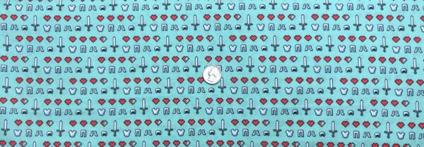 Minecraft Icons all over sage green. Hearts, swords and more. Minecraft Icons by Springs 20232 - Fabric by the yard