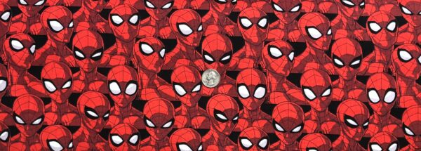 Spiderman fabric. Spiderman heads packed. Spider Sense by Springs 20264 - Fabric by the yard