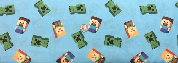 Minecraft characters all over light blue. Minecraft Friends by Springs 20265 - Fabric by the yard