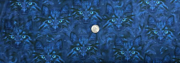 Cats in midnight blue incognito. Be Pawsitive by R. Kaufman 18348 Midnight - Fabric by the yard