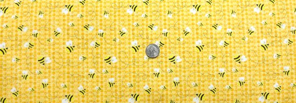 Bees buzzing all over yellow honeycomb. Gail - Honey Timeless Treasures C6106 - Fabric by the yard