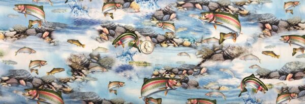 Rainbow trout and other fish in a rocky stream. Artwords XV by QT 27625 - Fabric by the yard.