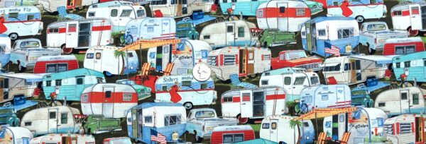 Vintage trailers packed. Bicycles, lounge chairs, old pick ups, American Flags and more. Elizabeth Studios 3505 multi. Fabric by the yard
