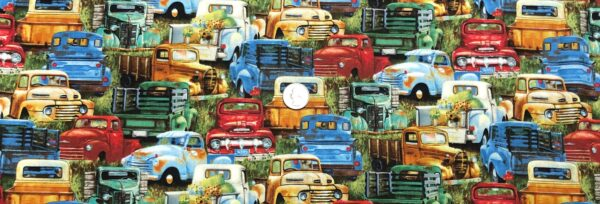 Vintage pick-up trucks in the grass packed. Vintage Trucks by Elizabeth Studios 21002 green. Fabric by the yard