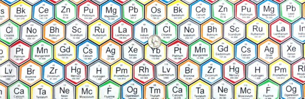 Elements in hexagons all over. Science Fair by Robert Kaufman 17930. 100% cotton woven. Fabric by the yard