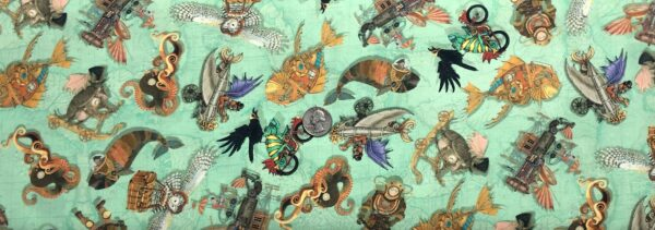 Underwater Steampunk all over mint green. Fantasy and Fiction by Quilting Treasures 27551. Fabric by the yard.