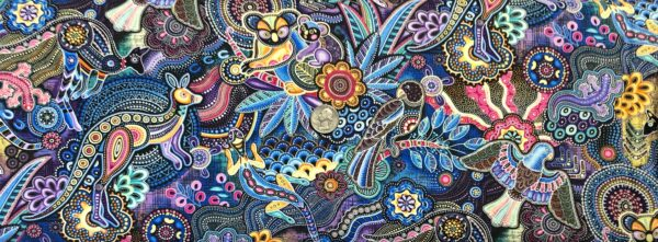 Mosaic animals all over in beautiful multicolors! Gondwana Master Cotton (navy/purple) by Oasis Fabric Design 604072 Fabric by the yard