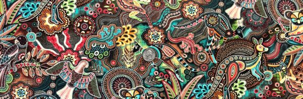 Mosaic animals all over in beautiful multicolors! Gondwana Master Cotton (brown/teal) by Oasis Fabric Design 604071 Fabric by the yard