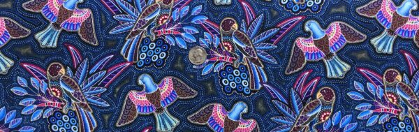 Mosaic parrots all over in beautiful multicolors! Gondwana Birds Cotton (navy) by Oasis Fabric Design 604122 Fabric by the yard