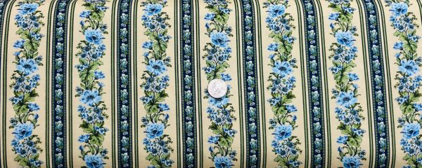 Blue and white flowers in a yellow and blue stripe design. Gabrielle by Benartex 4221 - 1 yard of fabric