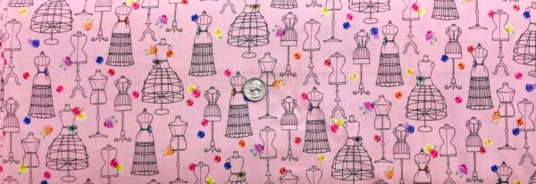 Dress forms and flowers all over pink. Amour De Fleur by QT 27054 P - fabric by the yard