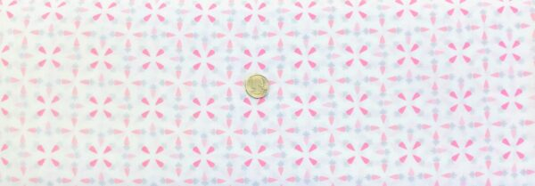 Pink and grey carrots all over white. Easter Fabric. Hunny Bunny by Kanvas Studios 08403- One yard of fabric.