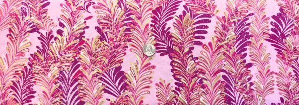 Burgundy and magenta ferns all over pink with metallic gold accents. Butterfly Jewel by Kanvas Studios 8861 - One yard of fabric.