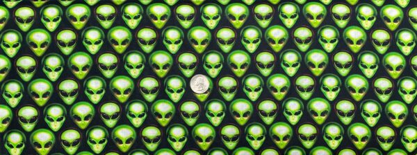 Green aliens all over black. Area 51 by Robert Kaufman 19546 Onyx - One yard of fabric.
