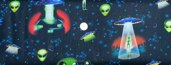Alien abduction, space ships and more on black. Area 51 by Robert Kaufman 19544 Eerie - One yard of fabric.