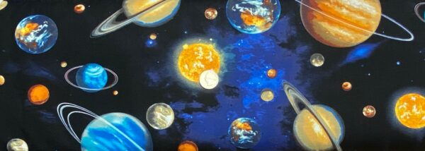 Planets in brilliant colors all over space black. Stargazers by Robert Kaufman 14606 11 - One yard of fabric.