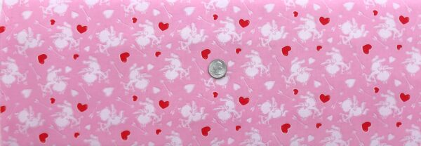 Sweet little cupid in white all over pink with hearts and arrows. Love Struck by Henry Glass 1364 - Fabric by the yard
