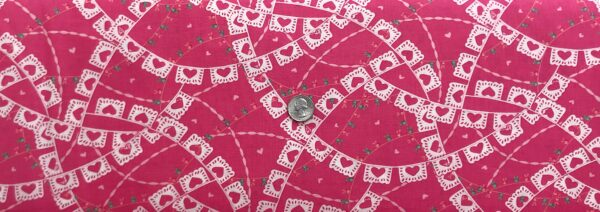 Paper heart banner all over pink. Llama Love by Moda 19922 - Fabric by the yard