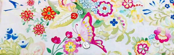 Watercolor butterflies and flowers in a garden like setting. Flights Of Fancy by Moda 33460 - Fabric by the yard