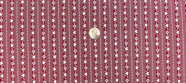White stripe on red with hearts and flowers. Gretel by Amy Smart for Penny Rose Fabrics C7835 - 1 yard of fabric