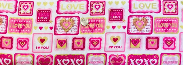 Valetines Fabric! X's and O's, pink hearts and I Love You!!@ Cherish by Kanvas Studio 8960 - Fabric by the yard.