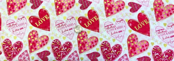 Valetines Fabric! Pink and red Valentines hearts all over white with metallic gold. Cherish by Kanvas Studio 8965 - Fabric by the yard.