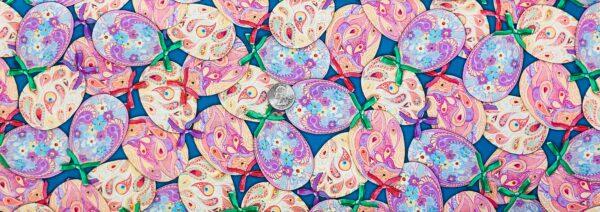 Colorfully designed Easter eggs with bows all over blue. Happy Easter by Quilting Treasures 27059 - Fabric by the yard.