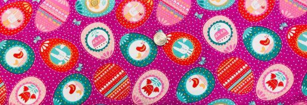 Pink, turquoise, red and pink Easter Eggs all over dark pink with white dots. Spring Bunny Fun by Moda 20542 Fabric by the yard.