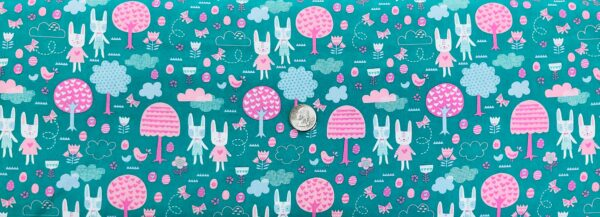 Bunnies, birds, trees and flowers all over teal. Spring Bunny Fun by Moda 20543 Fabric by the yard.