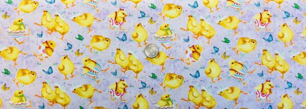 Easter chicks and butterflies all over lavender. 021320 Fabric by the yard.