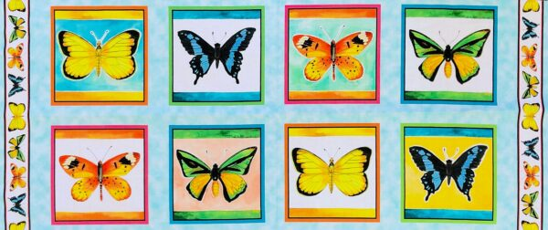 Multicolored butterfly panel with 8 Butterfly squares in a 1/2 yard panel. Fly Free by Quilting Treasures 27083 - Fabric by the yard.