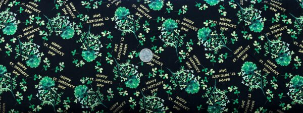 Bright kelly green shamrocks and bouquets all over black. Timeless Treaures CM1118 BLACK - fabric by the yard