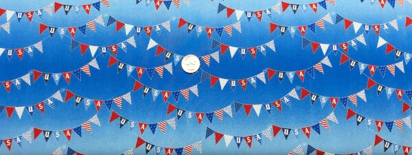 Red, white and blue USA flags all over tonal blue. Fourth of July. Patriotic Parade by Studio E 4627 - Fabric by the yard